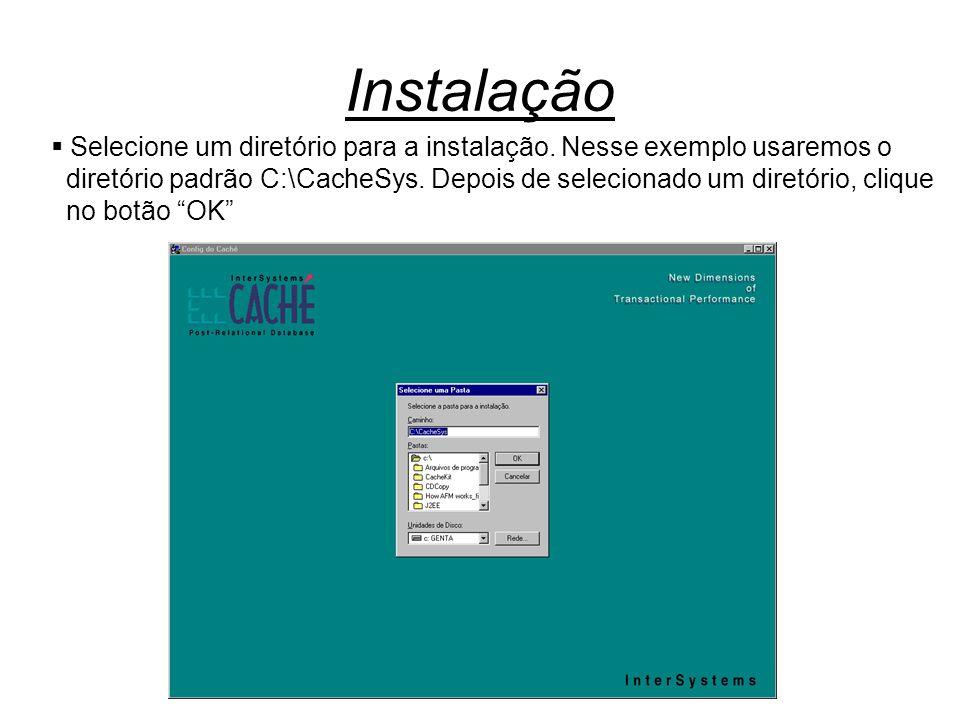Instalação  Selecione um diretório para a instalação. Nesse exemplo usaremos o diretório padrão C:\CacheSys. Depois de selecionado um diretório, cliq