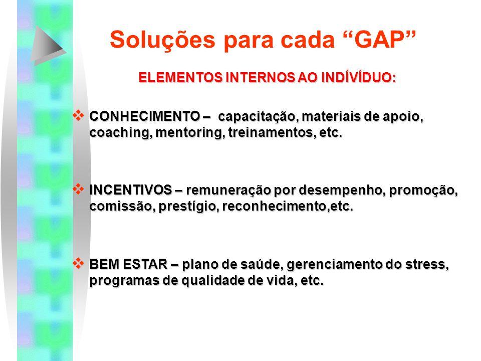 """Soluções para cada """"GAP"""" ELEMENTOS EXTERNOS AO INDÍVÍDUO:  RECURSOS FÍSICOS – ferramentas, materiais, equipamentos, tecnologia, suprimentos, orçament"""