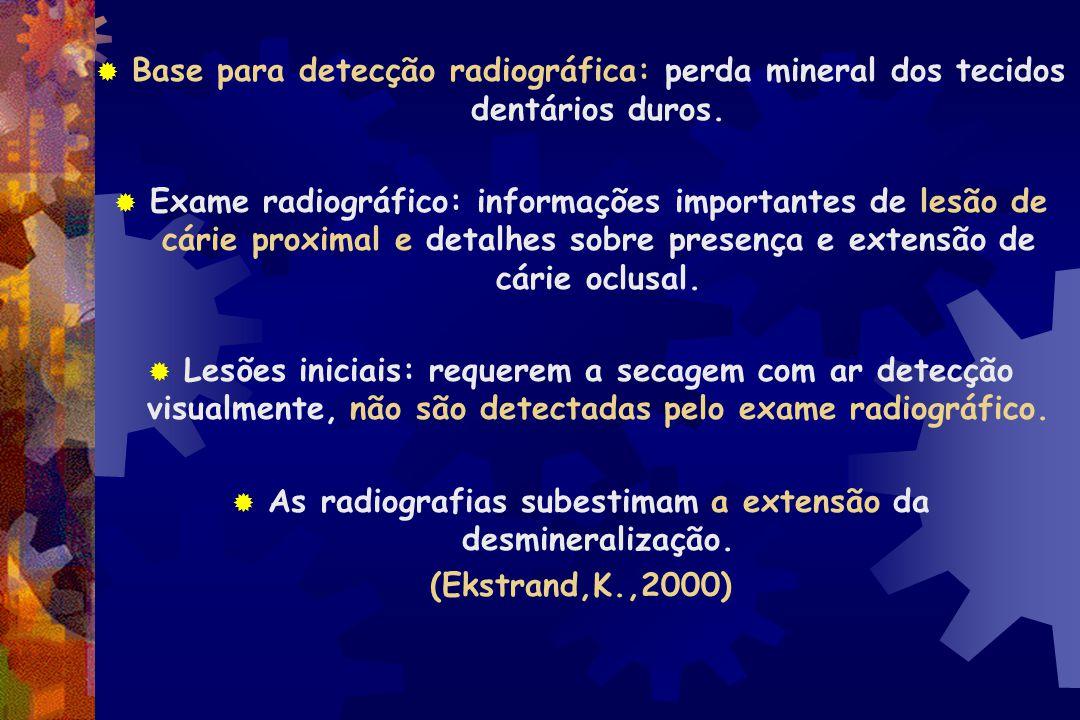 """ Exame Radiográfico  Área radiolúcida na dentina  Esmalte aparentemente intacto : """"cárie escondida""""  Devem ser diagnosticadas e tratadas como lesõ"""