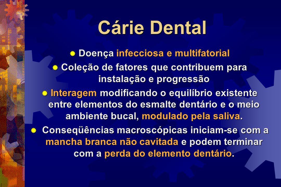 Cárie Dental  Doença infecciosa e multifatorial  Coleção de fatores que contribuem para instalação e progressão  Interagem modificando o equilíbrio existente entre elementos do esmalte dentário e o meio ambiente bucal, modulado pela saliva.