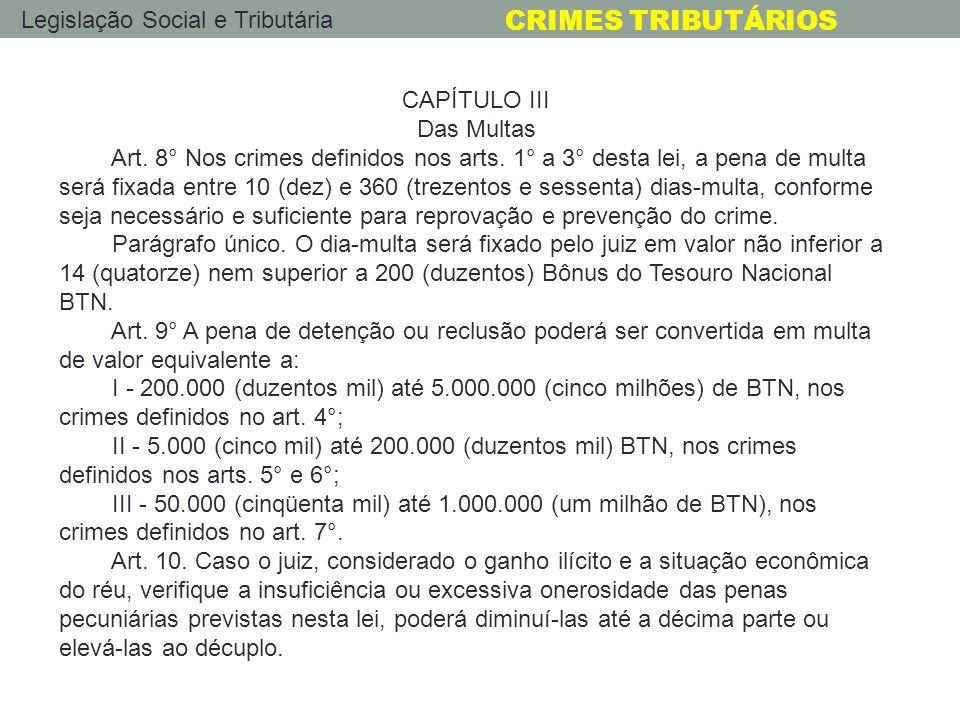 Legislação Social e Tributária CRIMES TRIBUTÁRIOS CAPÍTULO III Das Multas Art. 8° Nos crimes definidos nos arts. 1° a 3° desta lei, a pena de multa se