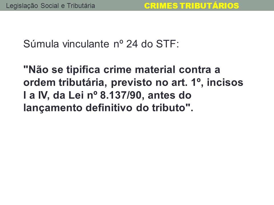 Legislação Social e Tributária CRIMES TRIBUTÁRIOS Súmula vinculante nº 24 do STF: