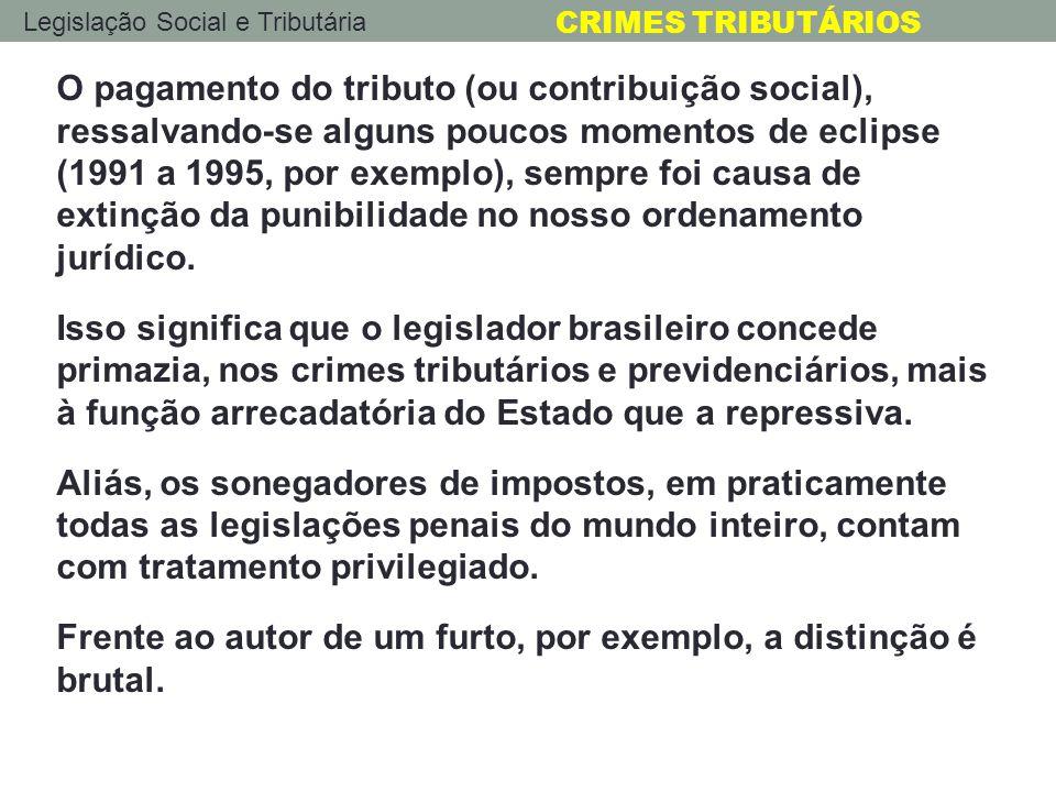 Legislação Social e Tributária CRIMES TRIBUTÁRIOS O pagamento do tributo (ou contribuição social), ressalvando-se alguns poucos momentos de eclipse (1