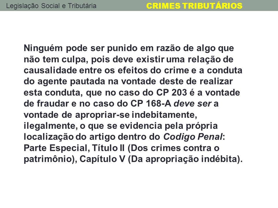 Legislação Social e Tributária CRIMES TRIBUTÁRIOS Ninguém pode ser punido em razão de algo que não tem culpa, pois deve existir uma relação de causali