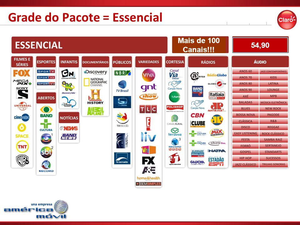 Grade do Pacote = Essencial Mais de 100 Canais!!! 54,90