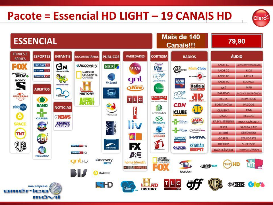 Pacote = Essencial HD LIGHT – 19 CANAIS HD Mais de 140 Canais!!! 79,90