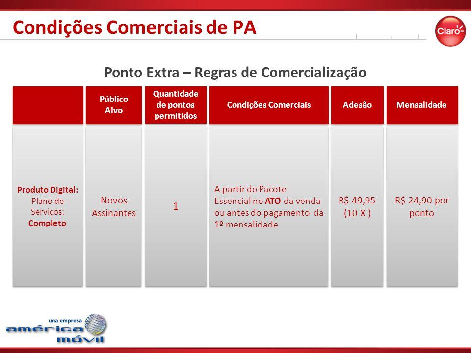 Ponto Extra – Regras de Comercialização Público Alvo Quantidade de pontos permitidos Condições Comerciais Adesão Mensalidade Produto Digital: Plano de Serviços: Completo Produto Digital: Plano de Serviços: Completo Novos Assinantes 1 1 A partir do Pacote Essencial no ATO da venda ou antes do pagamento da 1º mensalidade R$ 49,95 (10 X ) R$ 49,95 (10 X ) R$ 24,90 por ponto Condições Comerciais de PA