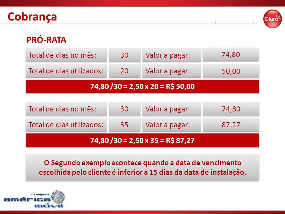 PRÓ-RATA Total de dias no mês: Total de dias utilizados: Valor a pagar: 30 74,80 20 Valor a pagar: 50,00 74,80 /30 = 2,50 x 20 = R$ 50,00 Total de dias no mês: Total de dias utilizados: Valor a pagar: 30 74,80 35 Valor a pagar: 87,27 74,80 /30 = 2,50 x 35 = R$ 87,27 O Segundo exemplo acontece quando a data de vencimento escolhida pelo cliente é inferior a 15 dias da data de instalação.