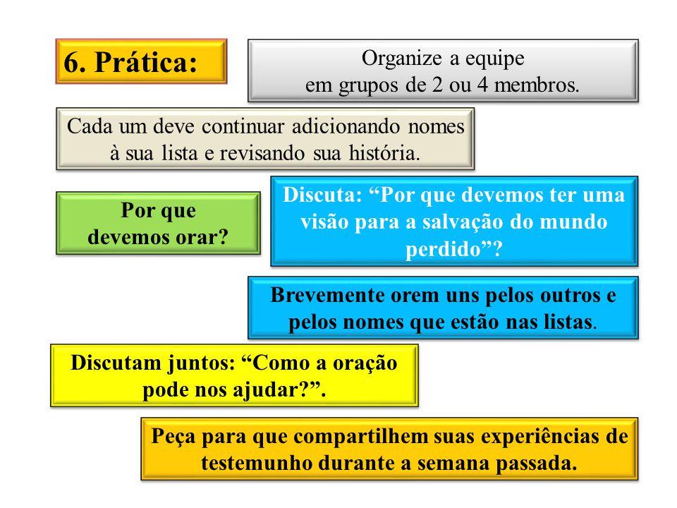 6.Prática: Organize a equipe em grupos de 2 ou 4 membros.