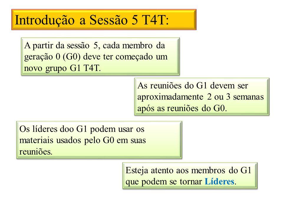 Introdução a Sessão 5 T4T: A partir da sessão 5, cada membro da geração 0 (G0) deve ter começado um novo grupo G1 T4T.