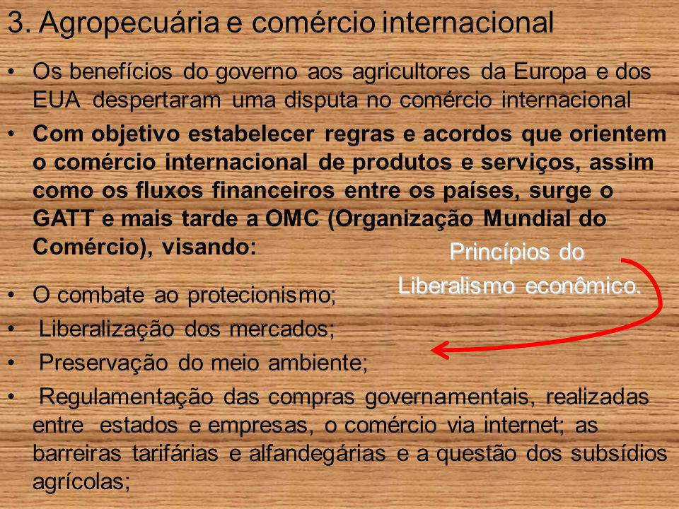 3. Agropecuária e comércio internacional Os benefícios do governo aos agricultores da Europa e dos EUA despertaram uma disputa no comércio internacion