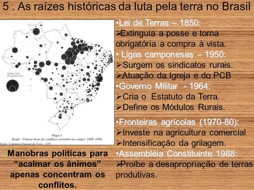 5. As raízes históricas da luta pela terra no Brasil Lei de Terras – 1850:Lei de Terras – 1850:  Extinguia a posse e torna obrigatória a compra à vis