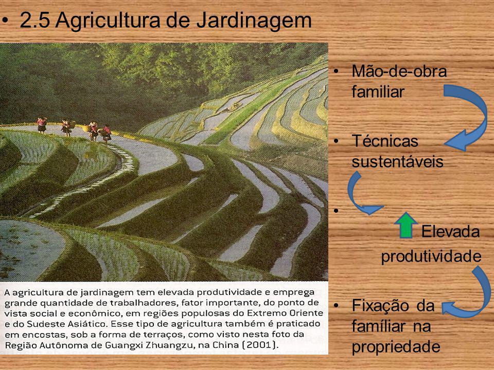 2.5 Agricultura de Jardinagem Mão-de-obra familiar Técnicas sustentáveis Elevada produtividade Fixação da famíliar na propriedade