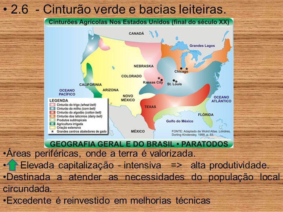 2.6 - Cinturão verde e bacias leiteiras. Áreas periféricas, onde a terra é valorizada. Elevada capitalização - intensiva => alta produtividade. Destin