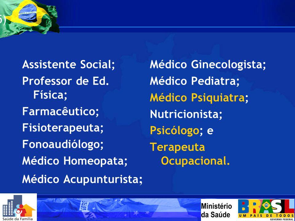 Profissionais do NASF (No mínimo 5) Assistente Social; Professor de Ed. Física; Farmacêutico; Fisioterapeuta; Fonoaudiólogo; Médico Homeopata; Médico