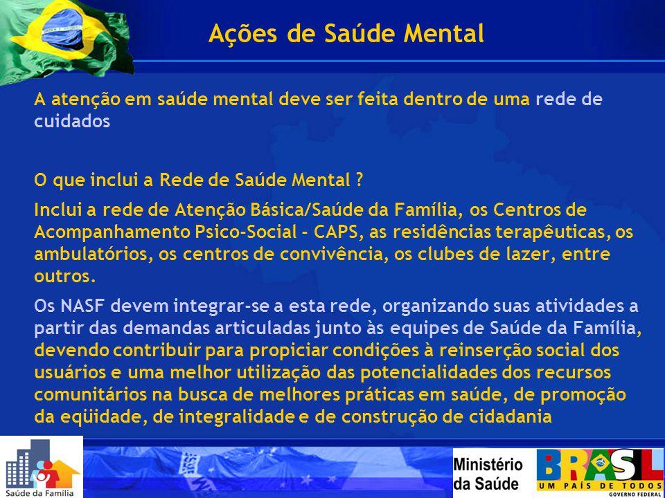 A atenção em saúde mental deve ser feita dentro de uma rede de cuidados O que inclui a Rede de Saúde Mental ? Inclui a rede de Atenção Básica/Saúde da