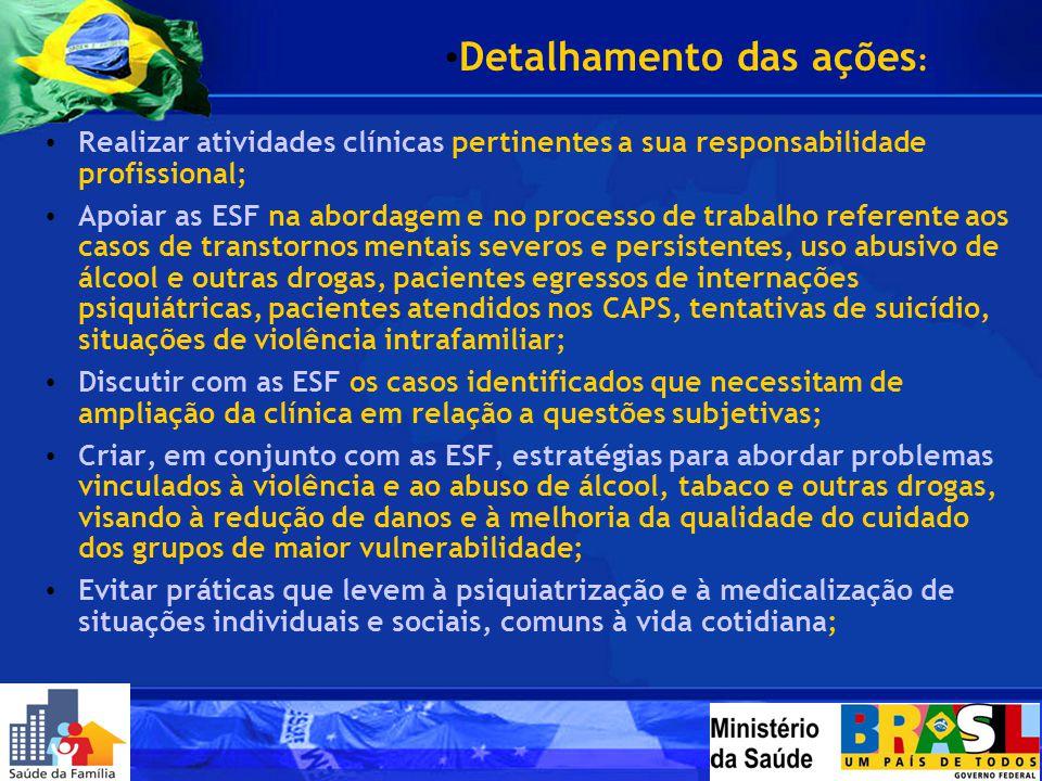 Realizar atividades clínicas pertinentes a sua responsabilidade profissional; Apoiar as ESF na abordagem e no processo de trabalho referente aos casos