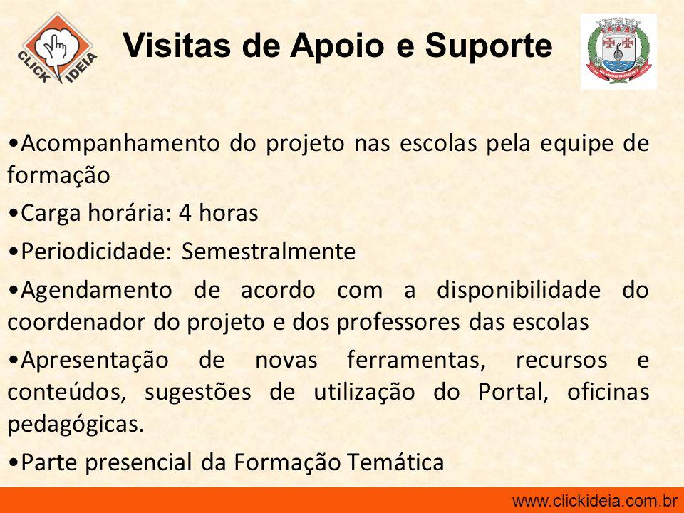 www.clickideia.com.br Acompanhamento do projeto nas escolas pela equipe de formação Carga horária: 4 horas Periodicidade: Semestralmente Agendamento d