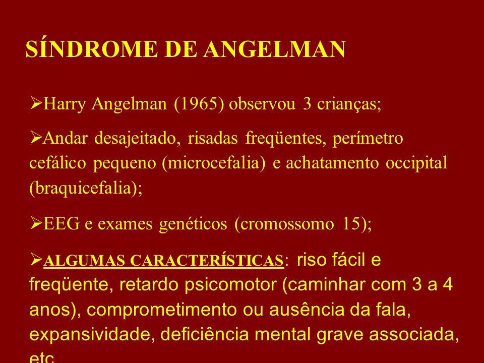 SÍNDROME DE ANGELMAN  Harry Angelman (1965) observou 3 crianças;  Andar desajeitado, risadas freqüentes, perímetro cefálico pequeno (microcefalia) e achatamento occipital (braquicefalia);  EEG e exames genéticos (cromossomo 15);  ALGUMAS CARACTERÍSTICAS : riso fácil e freqüente, retardo psicomotor (caminhar com 3 a 4 anos), comprometimento ou ausência da fala, expansividade, deficiência mental grave associada, etc.