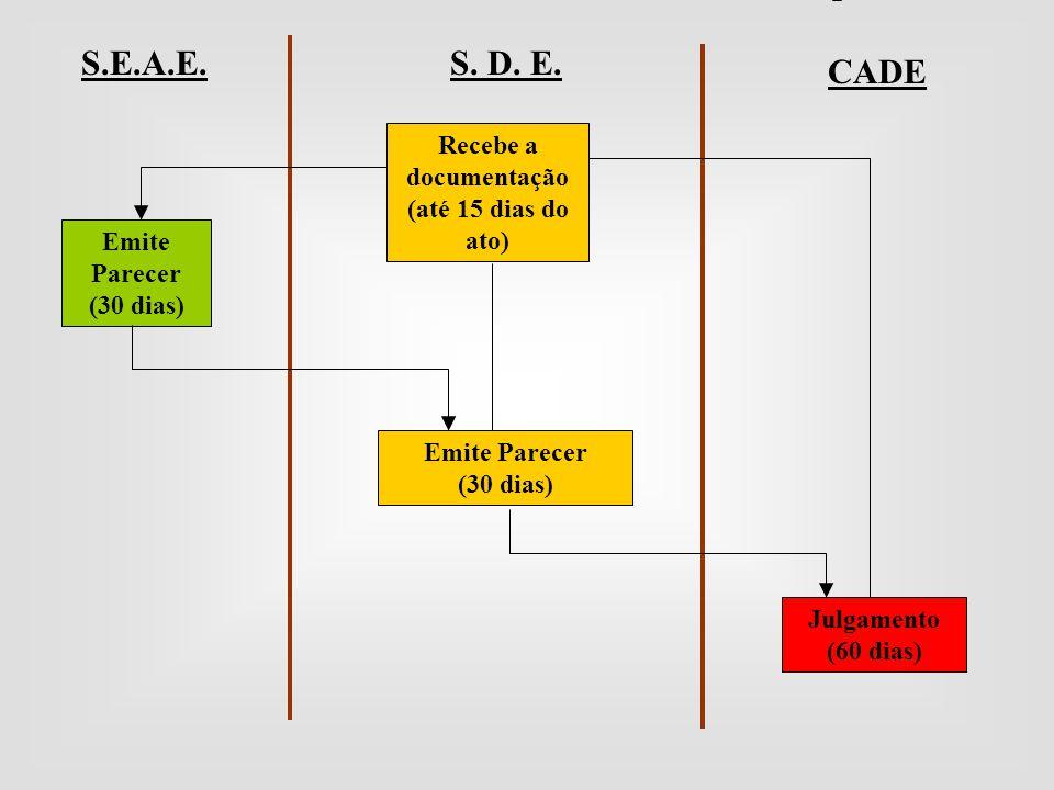 Recebe a documentação (até 15 dias do ato) S. D. E. CADE S.E.A.E. Emite Parecer (30 dias) Emite Parecer (30 dias) Julgamento (60 dias)