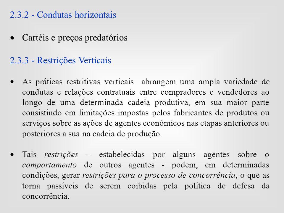 2.3.2 - Condutas horizontais  Cartéis e preços predatórios 2.3.3 - Restrições Verticais  As práticas restritivas verticais abrangem uma ampla varied
