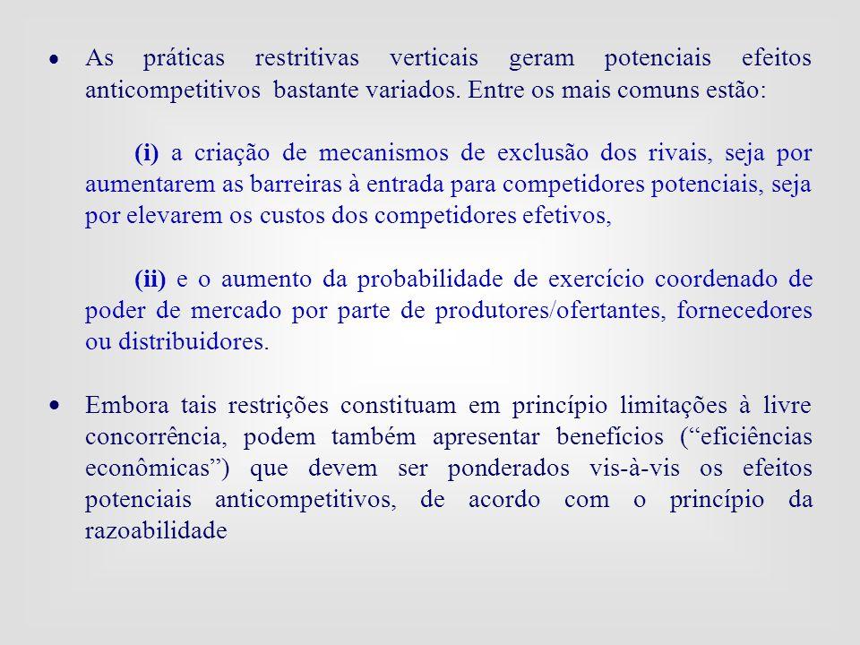  As práticas restritivas verticais geram potenciais efeitos anticompetitivos bastante variados. Entre os mais comuns estão: (i) a criação de mecanism