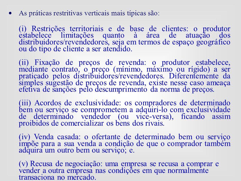  As práticas restritivas verticais mais típicas são: (i) Restrições territoriais e de base de clientes: o produtor estabelece limitações quanto à áre