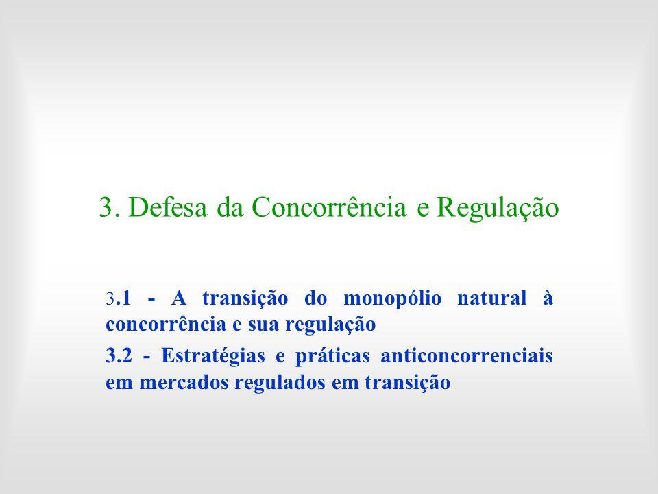 3. Defesa da Concorrência e Regulação 3.1 - A transição do monopólio natural à concorrência e sua regulação 3.2 - Estratégias e práticas anticoncorren