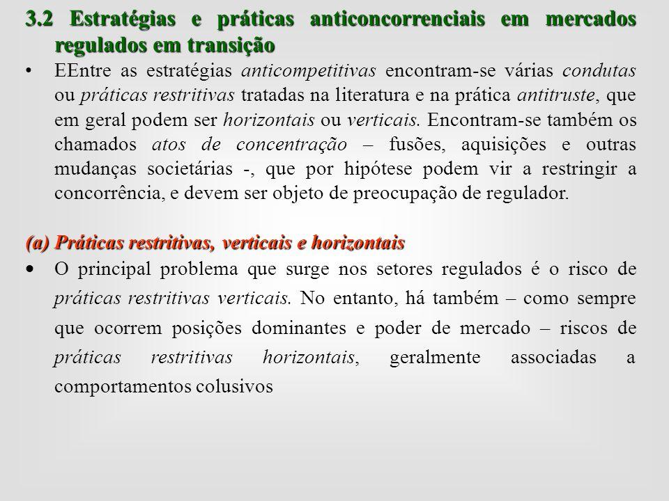 3.2 Estratégias e práticas anticoncorrenciais em mercados regulados em transição 3.2 Estratégias e práticas anticoncorrenciais em mercados regulados e