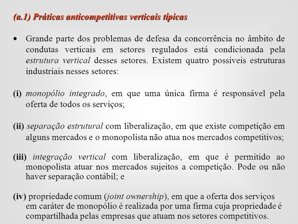 (a.1) Práticas anticompetitivas verticais típicas  Grande parte dos problemas de defesa da concorrência no âmbito de condutas verticais em setores re