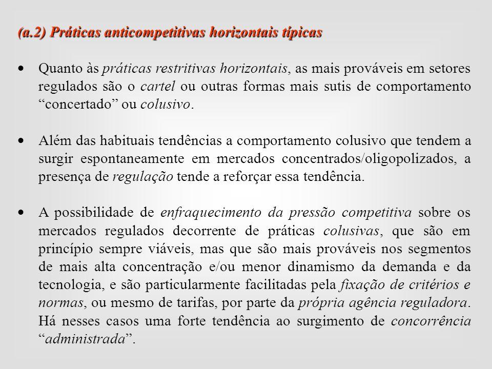 ( a.2) Práticas anticompetitivas horizontais típicas  Quanto às práticas restritivas horizontais, as mais prováveis em setores regulados são o cartel