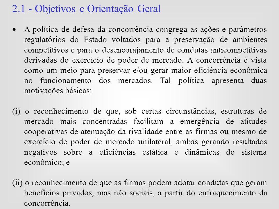 2.1 - Objetivos e Orientação Geral  A política de defesa da concorrência congrega as ações e parâmetros regulatórios do Estado voltados para a preser
