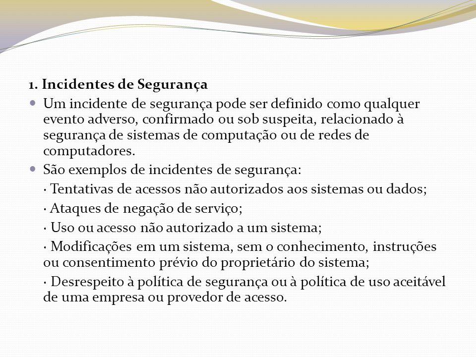 1. Incidentes de Segurança Um incidente de segurança pode ser definido como qualquer evento adverso, confirmado ou sob suspeita, relacionado à seguran
