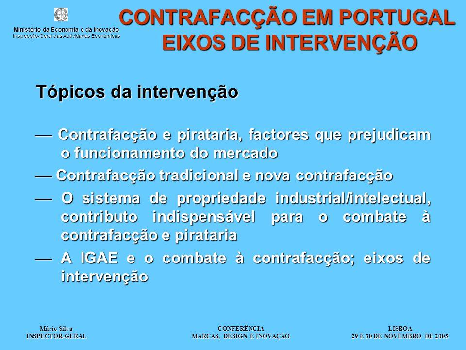 Mário Silva INSPECTOR-GERAL CONFERÊNCIA MARCAS, DESIGN E INOVAÇÃO Tópicos da intervenção  Contrafacção e pirataria, factores que prejudicam o funcion