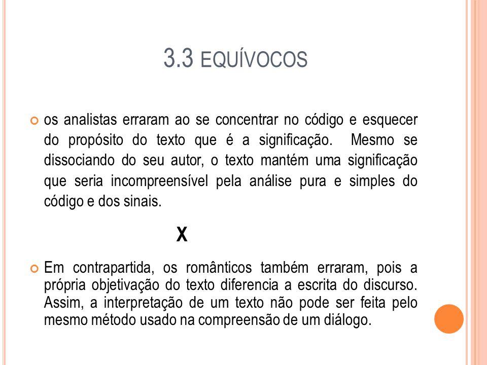 3.3 EQUÍVOCOS os analistas erraram ao se concentrar no código e esquecer do propósito do texto que é a significação.