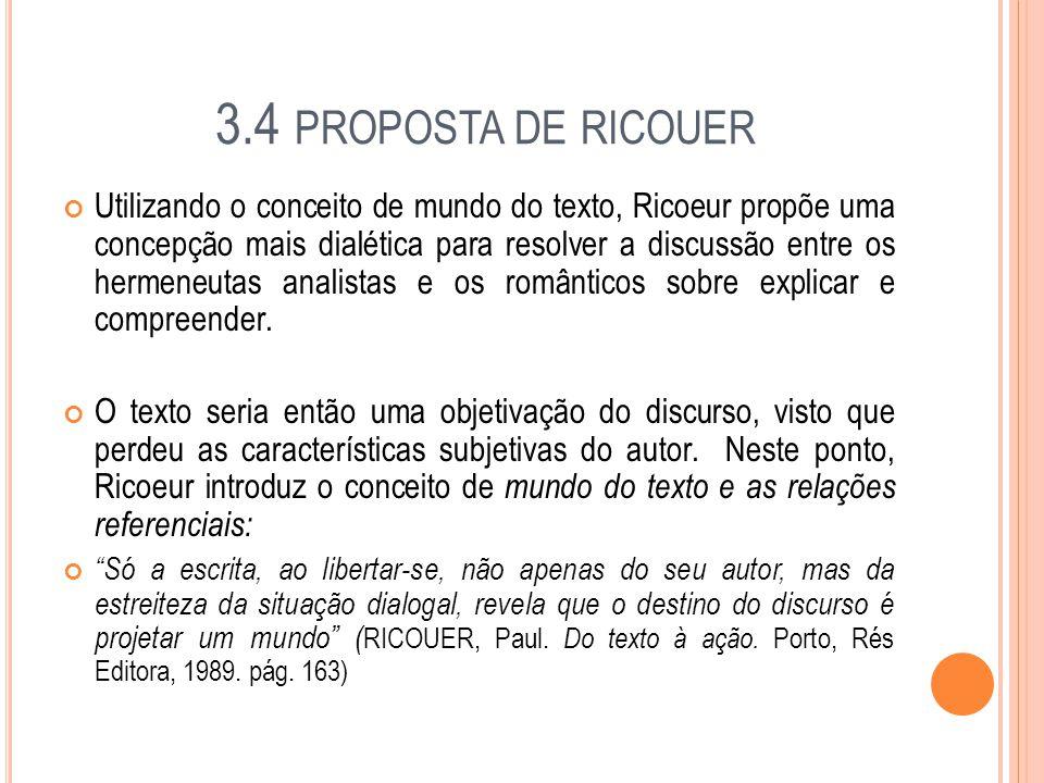 3.4 PROPOSTA DE RICOUER Utilizando o conceito de mundo do texto, Ricoeur propõe uma concepção mais dialética para resolver a discussão entre os hermen