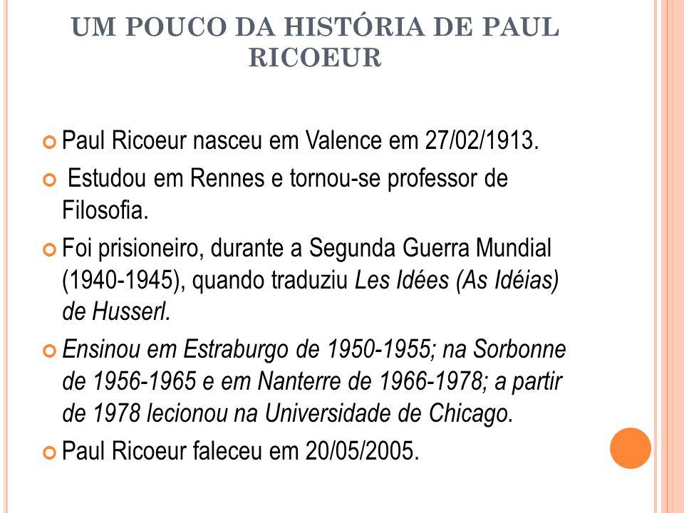 UM POUCO DA HISTÓRIA DE PAUL RICOEUR Paul Ricoeur nasceu em Valence em 27/02/1913. Estudou em Rennes e tornou-se professor de Filosofia. Foi prisionei