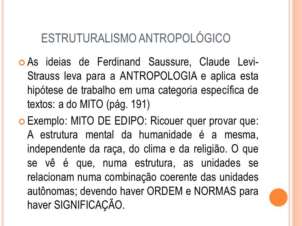 ESTRUTURALISMO ANTROPOLÓGICO As ideias de Ferdinand Saussure, Claude Levi- Strauss leva para a ANTROPOLOGIA e aplica esta hipótese de trabalho em uma