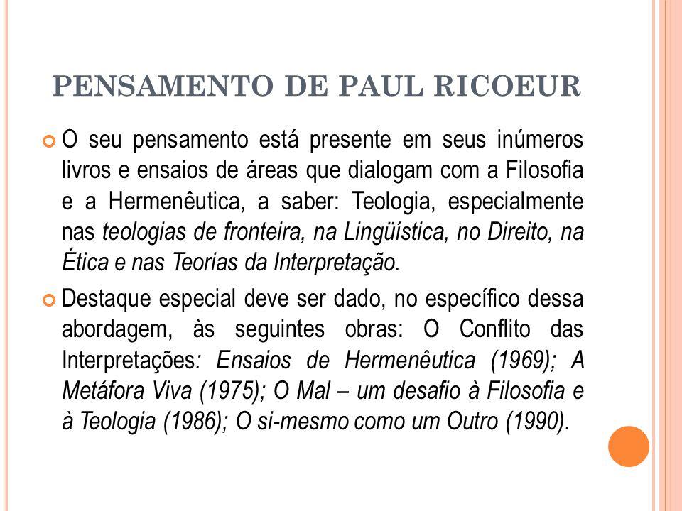 PENSAMENTO DE PAUL RICOEUR O seu pensamento está presente em seus inúmeros livros e ensaios de áreas que dialogam com a Filosofia e a Hermenêutica, a saber: Teologia, especialmente nas teologias de fronteira, na Lingüística, no Direito, na Ética e nas Teorias da Interpretação.