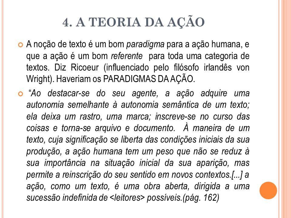4. A TEORIA DA AÇÃO A noção de texto é um bom paradigma para a ação humana, e que a ação é um bom referente para toda uma categoria de textos. Diz Ric
