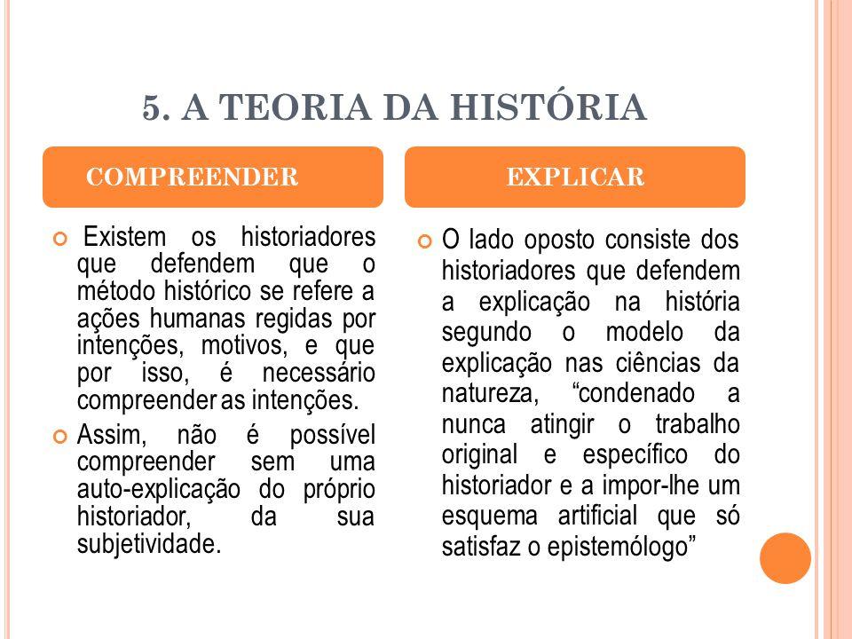 5. A TEORIA DA HISTÓRIA Existem os historiadores que defendem que o método histórico se refere a ações humanas regidas por intenções, motivos, e que p