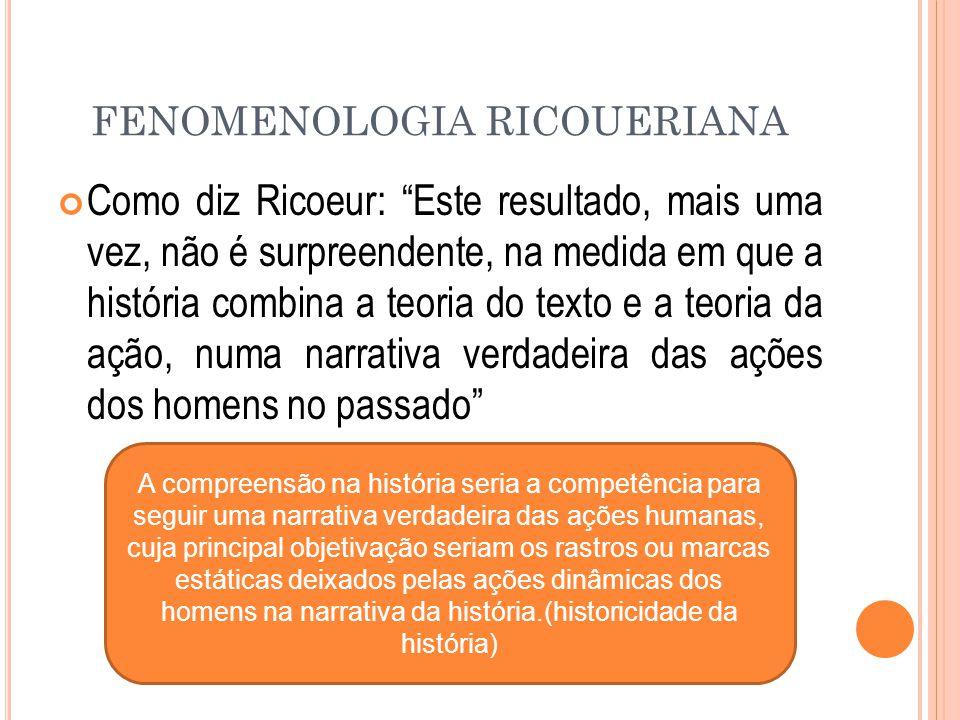 """FENOMENOLOGIA RICOUERIANA Como diz Ricoeur: """"Este resultado, mais uma vez, não é surpreendente, na medida em que a história combina a teoria do texto"""