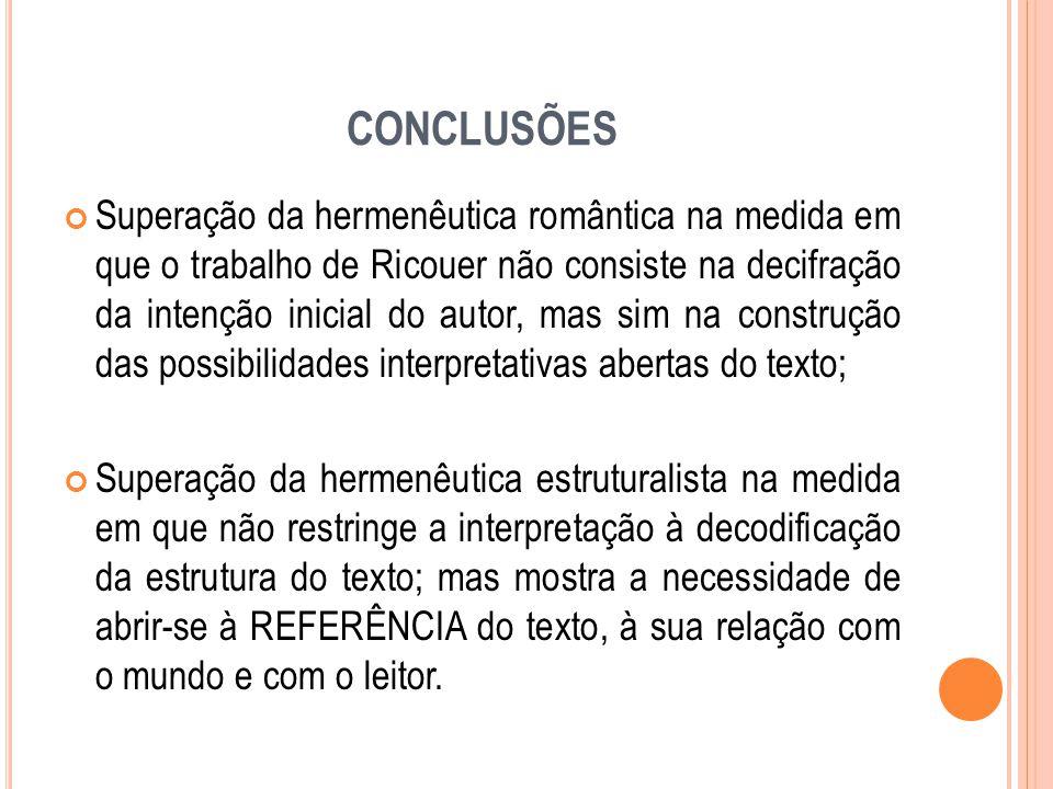 CONCLUSÕES Superação da hermenêutica romântica na medida em que o trabalho de Ricouer não consiste na decifração da intenção inicial do autor, mas sim