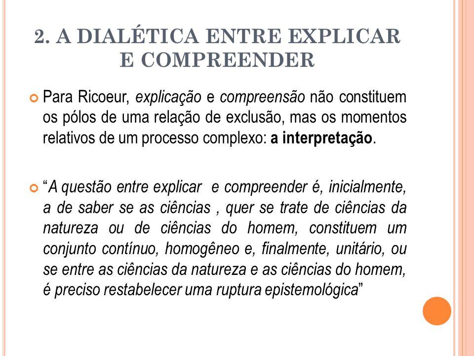 2. A DIALÉTICA ENTRE EXPLICAR E COMPREENDER Para Ricoeur, explicação e compreensão não constituem os pólos de uma relação de exclusão, mas os momentos