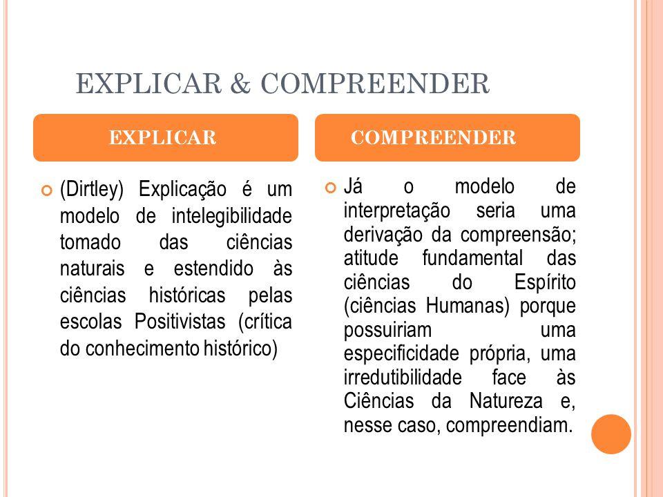 EXPLICAR & COMPREENDER (Dirtley) Explicação é um modelo de intelegibilidade tomado das ciências naturais e estendido às ciências históricas pelas esco