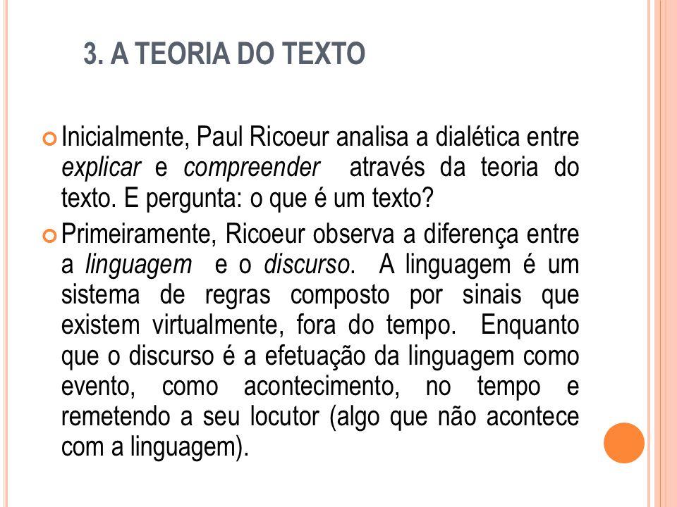 3. A TEORIA DO TEXTO Inicialmente, Paul Ricoeur analisa a dialética entre explicar e compreender através da teoria do texto. E pergunta: o que é um te