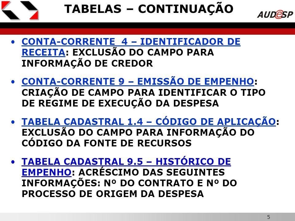 4  ALTERAÇÃO DO NOME: DE TABELAS AUDESP PARA TABELAS DE ESCRITURAÇÃO CONTÁBIL  NÃO FORAM CRIADAS NOVAS CONTAS- CORRENTES, APENAS ALGUMAS ALTERAÇÕES: EXCLUSÃO DAS TABELAS CADASTRAIS DA CLASSIFICAÇÃO FUNCIONAL PROGRAMÁTICA (7.8, 7.9 E 7.10) AS TABELAS CADASTRAIS DA CLASSIFICAÇÃO ECONÔMICA DA RECEITA E DA DESPESA PASSAM A SER CONSIDERADAS TABELAS AUXILIARES ACRÉSCIMO DE TEXTO EXPLICATIVO NAS TABELAS DE FONTE DE RECURSO E CÓDIGO DE APLICAÇÃO TABELAS