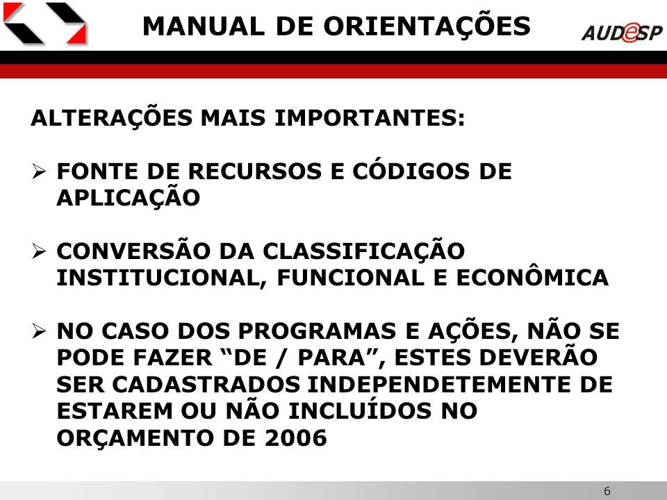 5 CONTA-CORRENTE 4 – IDENTIFICADOR DE RECEITA: EXCLUSÃO DO CAMPO PARA INFORMAÇÃO DE CREDOR CONTA-CORRENTE 9 – EMISSÃO DE EMPENHO: CRIAÇÃO DE CAMPO PARA IDENTIFICAR O TIPO DE REGIME DE EXECUÇÃO DA DESPESA TABELA CADASTRAL 1.4 – CÓDIGO DE APLICAÇÃO: EXCLUSÃO DO CAMPO PARA INFORMAÇÃO DO CÓDIGO DA FONTE DE RECURSOS TABELA CADASTRAL 9.5 – HISTÓRICO DE EMPENHO: ACRÉSCIMO DAS SEGUINTES INFORMAÇÕES: Nº DO CONTRATO E Nº DO PROCESSO DE ORIGEM DA DESPESA TABELAS – CONTINUAÇÃO