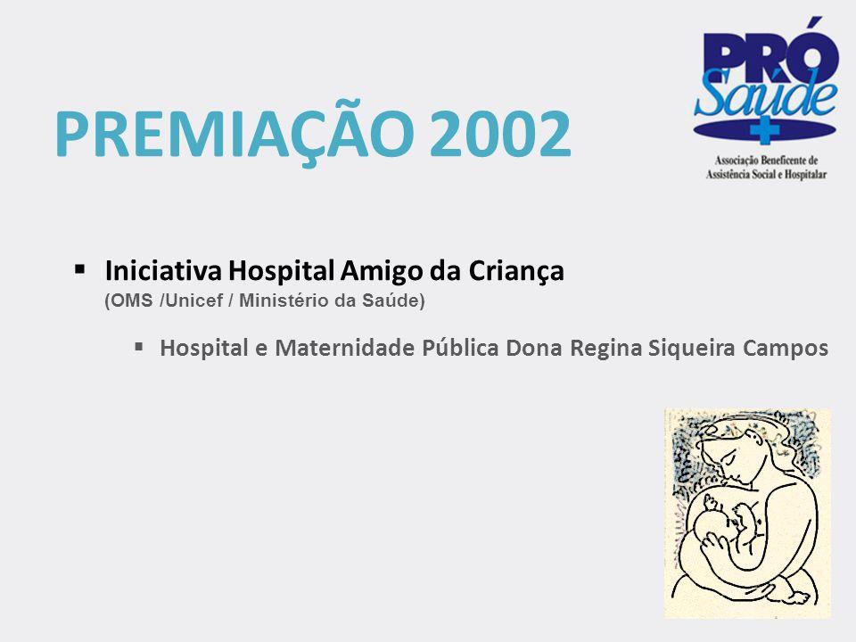  Iniciativa Hospital Amigo da Criança (OMS /Unicef / Ministério da Saúde)  Hospital e Maternidade Pública Dona Regina Siqueira Campos PREMIAÇÃO 2002