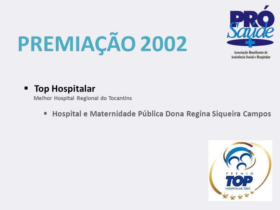 PREMIAÇÃO 2003  Iniciativa Hospital Amigo da Criança (OMS / Unicef / Ministério da Saúde)  Hospital Comunitário de Augustinópolis